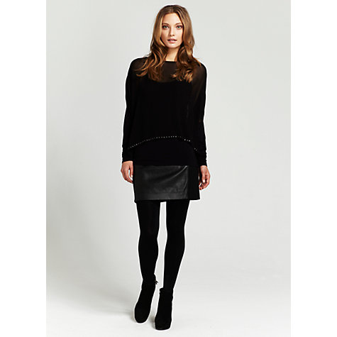 Buy Mint Velvet Leather & Jersey Skirt, Black Online at johnlewis.com