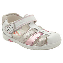 Buy Clarks Softly Palm Sandals, White/Pink Online at johnlewis.com
