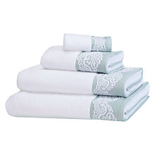 Buy John Lewis White Shop Puritan Stitch Towel, Silver Sage / White Online at johnlewis.com