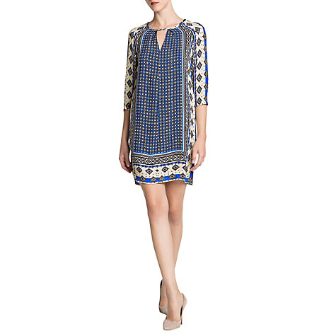 Buy Mango Scarf Print Dress, Bright Blue Online at johnlewis.com