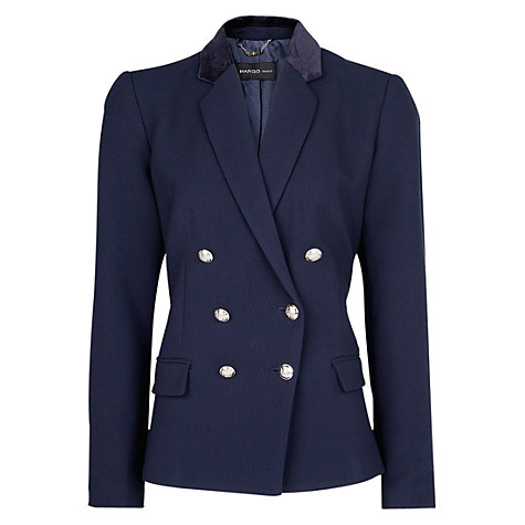 Buy Mango Velvet Applique Double-Breasted Blazer, Navy Online at johnlewis.com