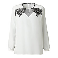 Buy Gérard Darel Silk and Lace Blouse, White Online at johnlewis.com