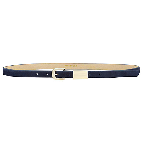 Buy Whistles Metal Tube Calf Hair Belt, Navy Online at johnlewis.com