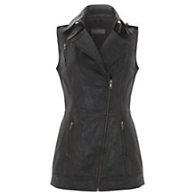 Buy Mint Velvet Leather Longline Gilet, Black Online at johnlewis.com