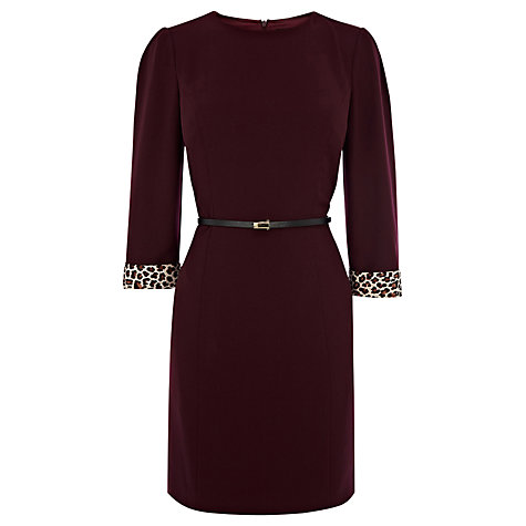 Buy Oasis 3/4 Sleeve Tyler Dress, Dark Purple Online at johnlewis.com