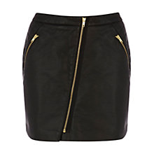 Buy Warehouse Faux Leather Biker Skirt, Black Online at johnlewis.com