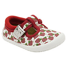 Buy Clarks Spotty Heart Canvas Shoes, White/Red Online at johnlewis.com