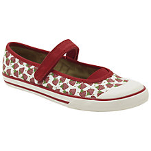 Buy Clarks Glam Berry Canvas Plimsolls, White/Red Online at johnlewis.com