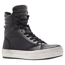 Buy Kurt Geiger Ace Leather Hi-Top Trainers, Black Online at johnlewis.com
