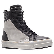 Buy Kurt Geiger Ace Leather Hi-Top Trainers, Black/White Online at johnlewis.com