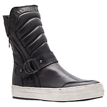 Buy Kurt Geiger Ashton Leather Padded Hi-Top Trainers, Black Online at johnlewis.com
