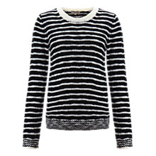 Buy Jigsaw Wool Slub Stripe Sweater, Black Online at johnlewis.com