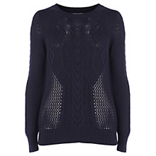 Buy Oasis Perforated Crew Neck Jumper, Navy Online at johnlewis.com