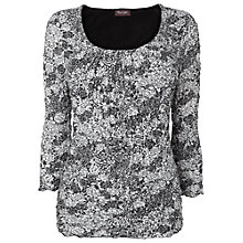 Buy Phase Eight Peggy Crushed Print Top, Black / White Online at johnlewis.com