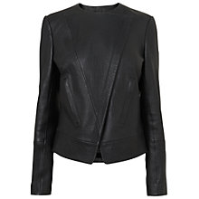 Buy Jaegar Leather Cross-front Leather Biker Jacket, Black Online at johnlewis.com