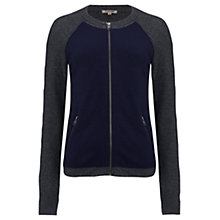 Buy Jigsaw Cashangora Knit Bomber Jacket, Navy Online at johnlewis.com