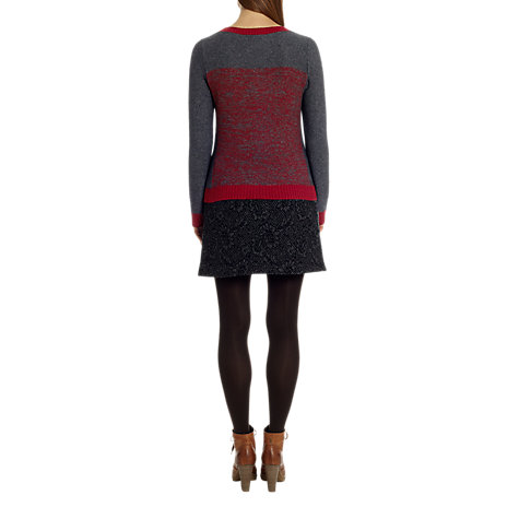 Buy Jigsaw Cashangora Mouline Sweater, Dark Grey / Red Online at johnlewis.com