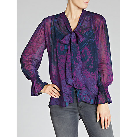 Buy Ghost Faith Tie Neck Blouse, Angela Paisley Print Online at johnlewis.com