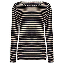 Buy Jigsaw Jersey Stripe Top, Black Online at johnlewis.com