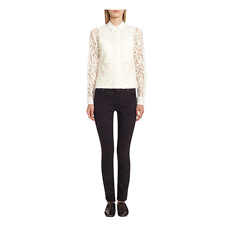 Buy Jigsaw Floral Jacquard Jeans, Black Online at johnlewis.com