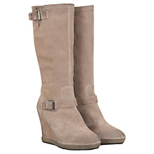 Buy Mint Velvet Suede Wedge Heel Long Boots, Grey Online at johnlewis.com
