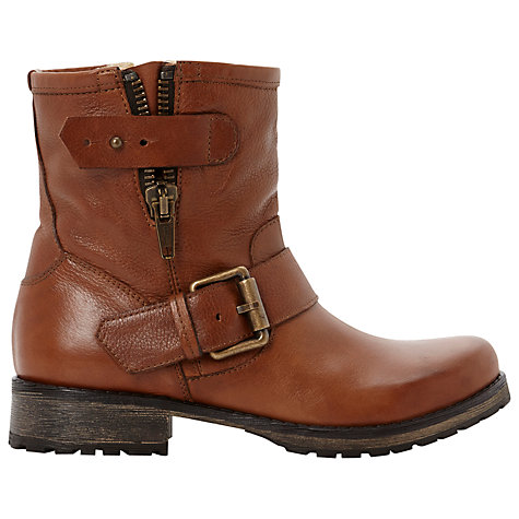 Buy Dune Promey Biker Boots, Dark Tan Online at johnlewis.com