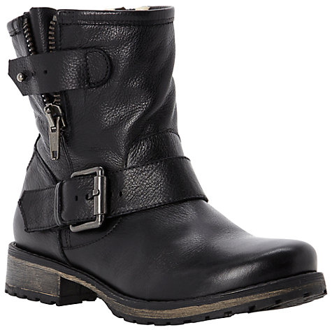 Buy Dune Promey Biker Boots, Black Online at johnlewis.com