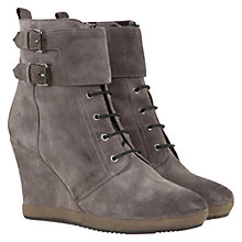 Buy Mint Velvet Suede Wedge Lace Up Ankle Boots Online at johnlewis.com