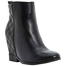 Buy Dune Pex Quilt Heel Wedge Leather Ankle Boots, Black Online at johnlewis.com