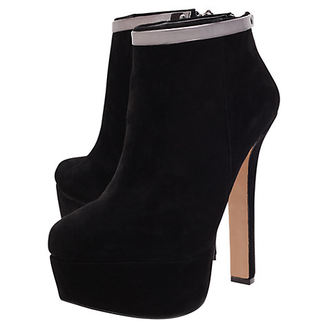 Buy Carvela Smile Suede Chain Zip High Stiletto Ankle Boots, Black Online at johnlewis.com