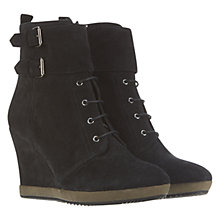Buy Mint Velvet Wedge Lace Up Ankle Boots, Black Online at johnlewis.com