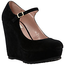 Buy Dune Avenge Cleated Suede Wedge Platform Mary-Jane Shoes, Black Online at johnlewis.com