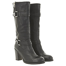 Buy Mint Velvet Leather Zip & Tab Mid Calf Boots, Black Online at johnlewis.com