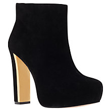 Buy Carvela Swipe Suede Block Heel Ankle Boots, Black Online at johnlewis.com