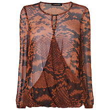 Buy Jaeger Python Blouse, Mid Brown Online at johnlewis.com