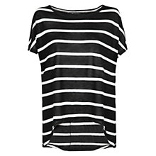 Buy Mango Striped Lightweight Top, Black Online at johnlewis.com