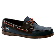 Buy Sebago Endeavour Leather Boat Shoes, Navy/Brown Online at johnlewis.com