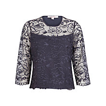 Buy Jacques Vert Embroidered Mesh Top, Purple Online at johnlewis.com