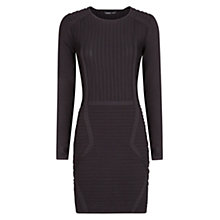 Buy Mango Textured Stripe Dress, Black Online at johnlewis.com