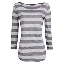 Buy Mango Striped T-Shirt, White / Grey Online at johnlewis.com