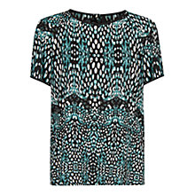 Buy Mango Print Flowy Blouse, Bright Green Online at johnlewis.com