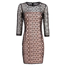 Buy Mango Ethnic Print Mesh Dress, Black Online at johnlewis.com