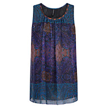 Buy Mango Scarf Print Chiffon Top, Blue Online at johnlewis.com