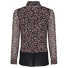 Buy French Connection Pebble Petal Shirt, Khaki Multi/Black Online at johnlewis.com
