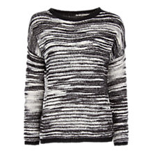 Buy Mango Dual Tone Openwork Sweater, Black Online at johnlewis.com