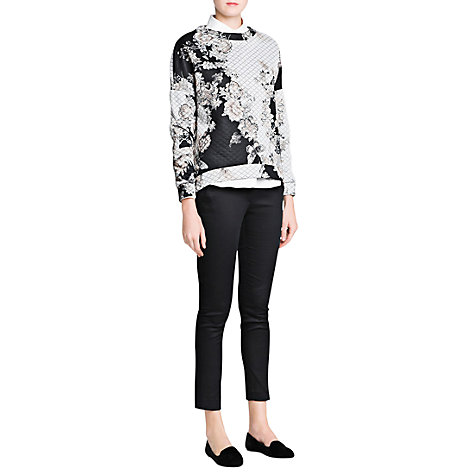 Buy Mango Floral Print Sweatshirt, Dark Grey Online at johnlewis.com