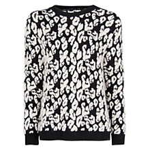 Buy Mango Leopard Chunky Knit Jumper, Black Online at johnlewis.com