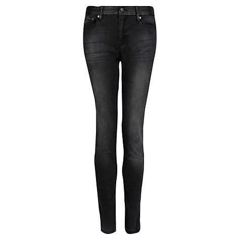 Buy Mango Faux Leather Panel Jeans, Black Online at johnlewis.com