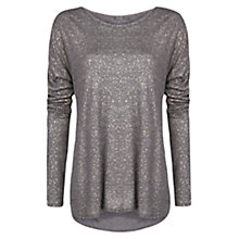 Buy Mango Metallic T-Shirt, Dark Grey Online at johnlewis.com