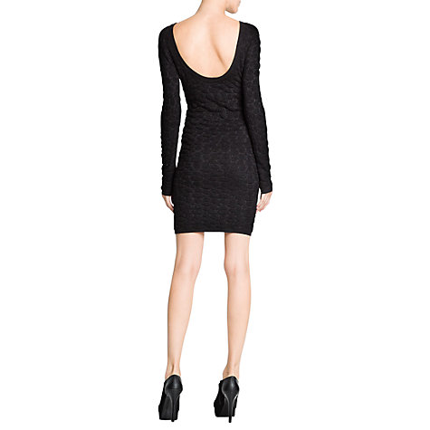 Buy Mango Knitted Jacquard Spot Dress, Black Online at johnlewis.com